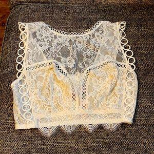 Victoria's Secret Lace High-neck Sheer Bralette L